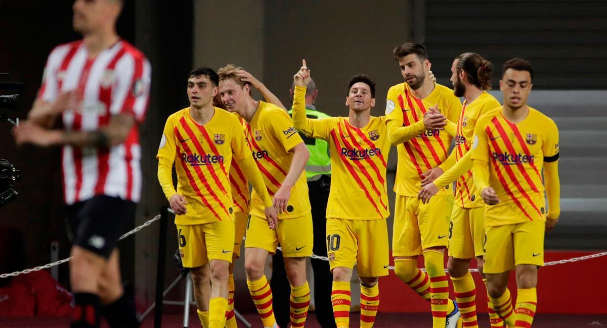 Lionel Messi celebró un 'doblete' en la gran final de la Copa del Rey. Foto: EFE