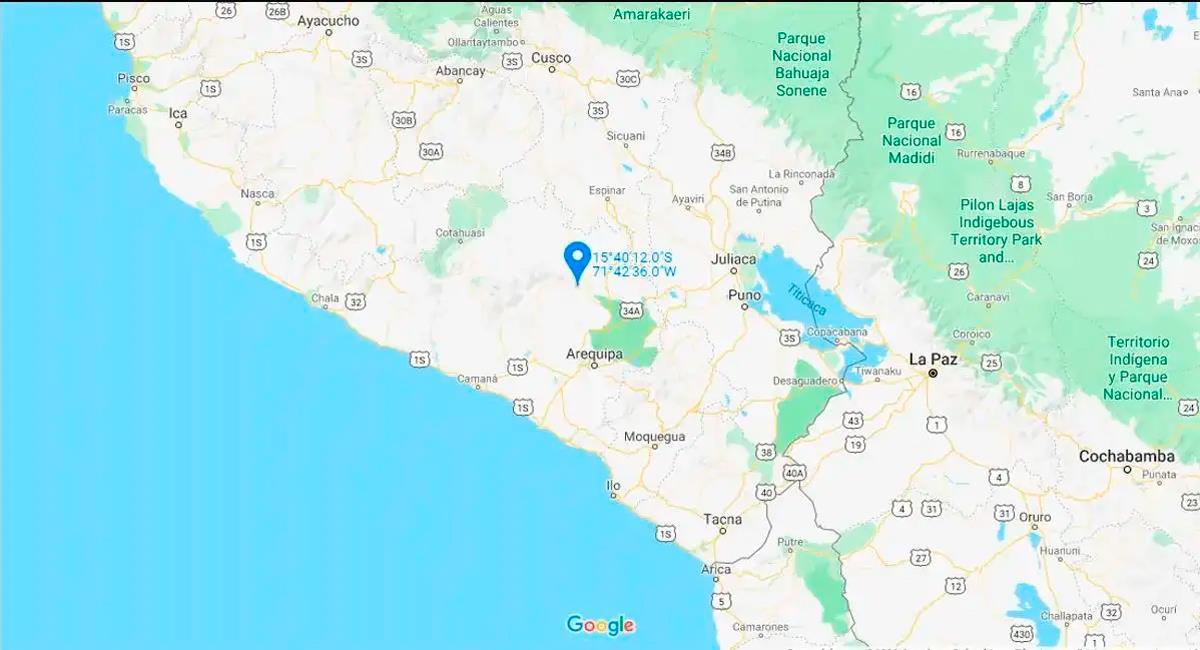 Temblor de 3.8 sacudió Arequipa esta noche del sábado. Foto: Google Maps