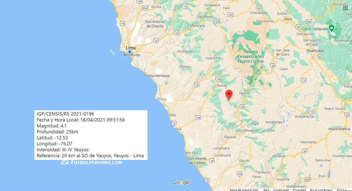 Temblor sacudió Yauyos (Lima) este domingo 18 de abril. Foto: Google Maps