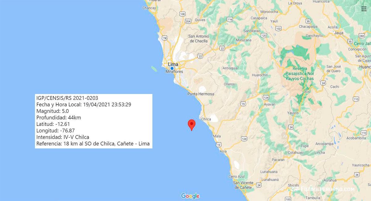 Fuerte temblor sacudió Lima este lunes por la noche. Foto: Google Maps
