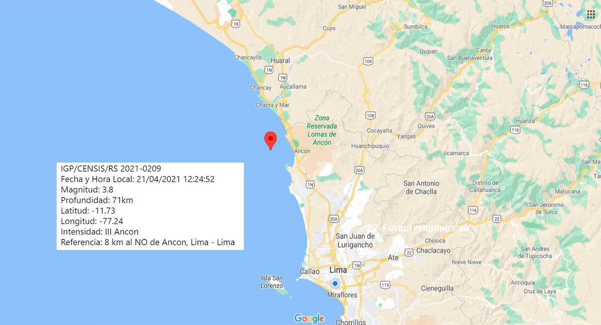 Temblor de 3.8 de magnitud sacudió Lima este miércoles 21 de abril. Foto: Google Maps