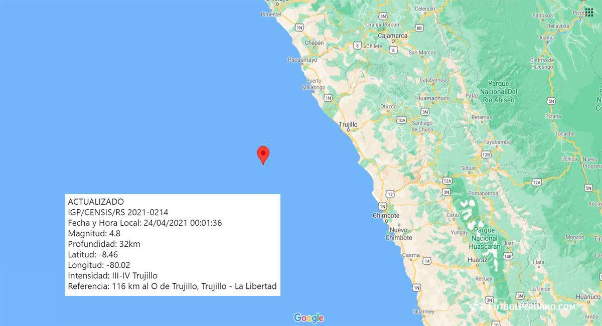 Temblor sacudió Trujillo este sábado 24 de abril por la madrugada. Foto: Google Maps