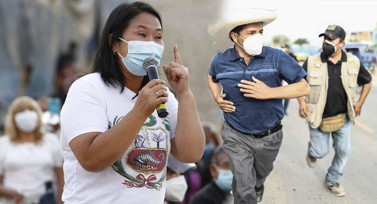 La carrera por la presidencia entre Keiko Fujimori y Pedro Castillo. Foto: Andina