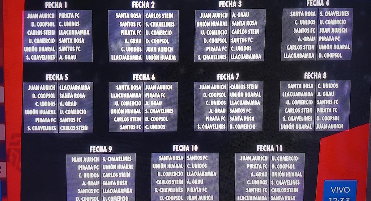 Fixture de la Liga 2. Foto: Captura GolPerú
