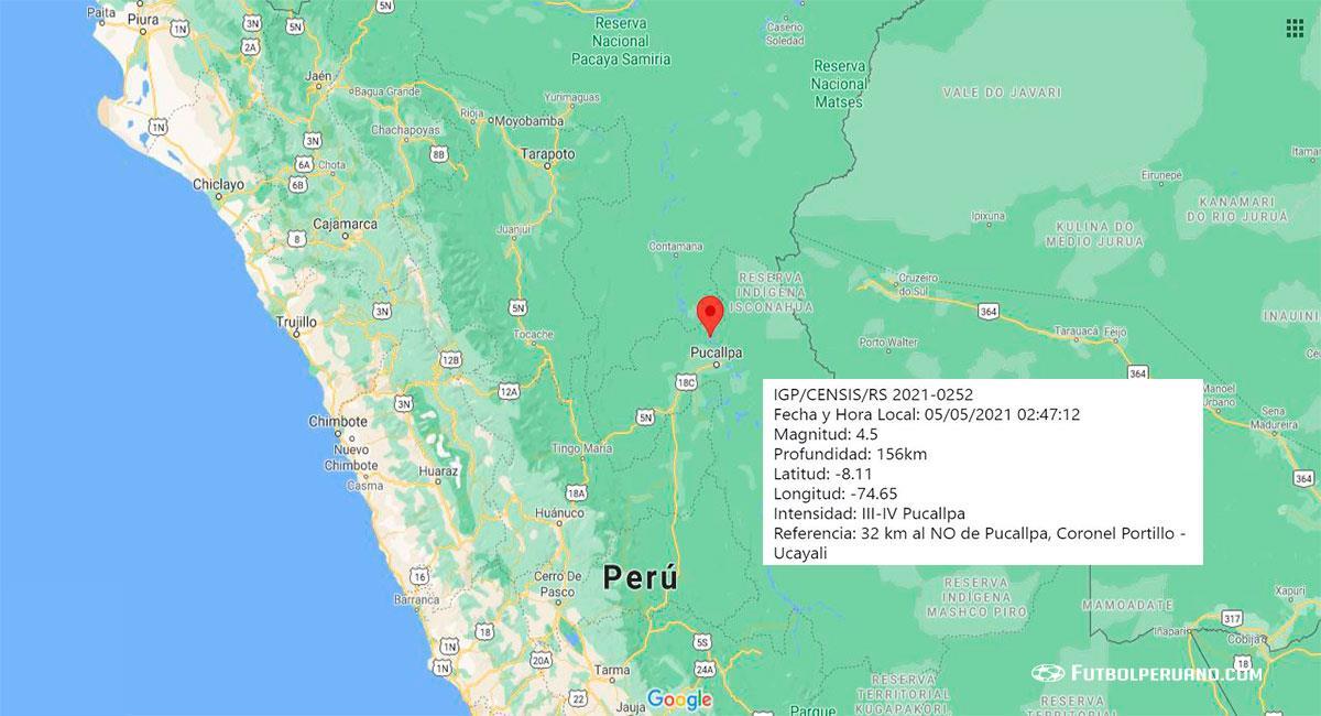 Temblor sacudió Pucallpa este miércoles por la madrugada. Foto: Google Maps