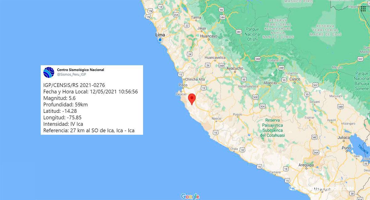 Temblor sacudió Ica este miércoles 12 de mayo. Foto: Google Maps