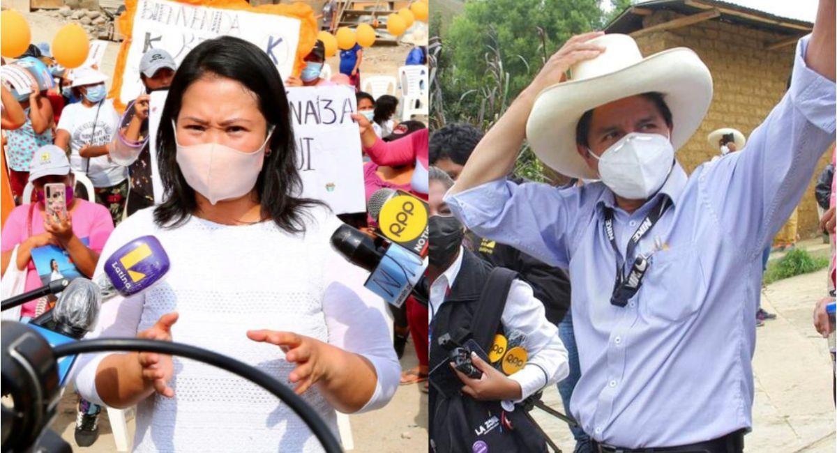 Keiko Fujimori y Pedro Castillo. Foto: Andina