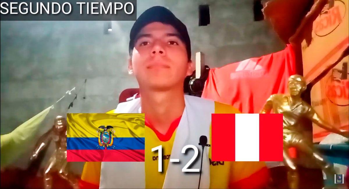 Reacciones del Ecuador vs Perú. Foto: Youtube