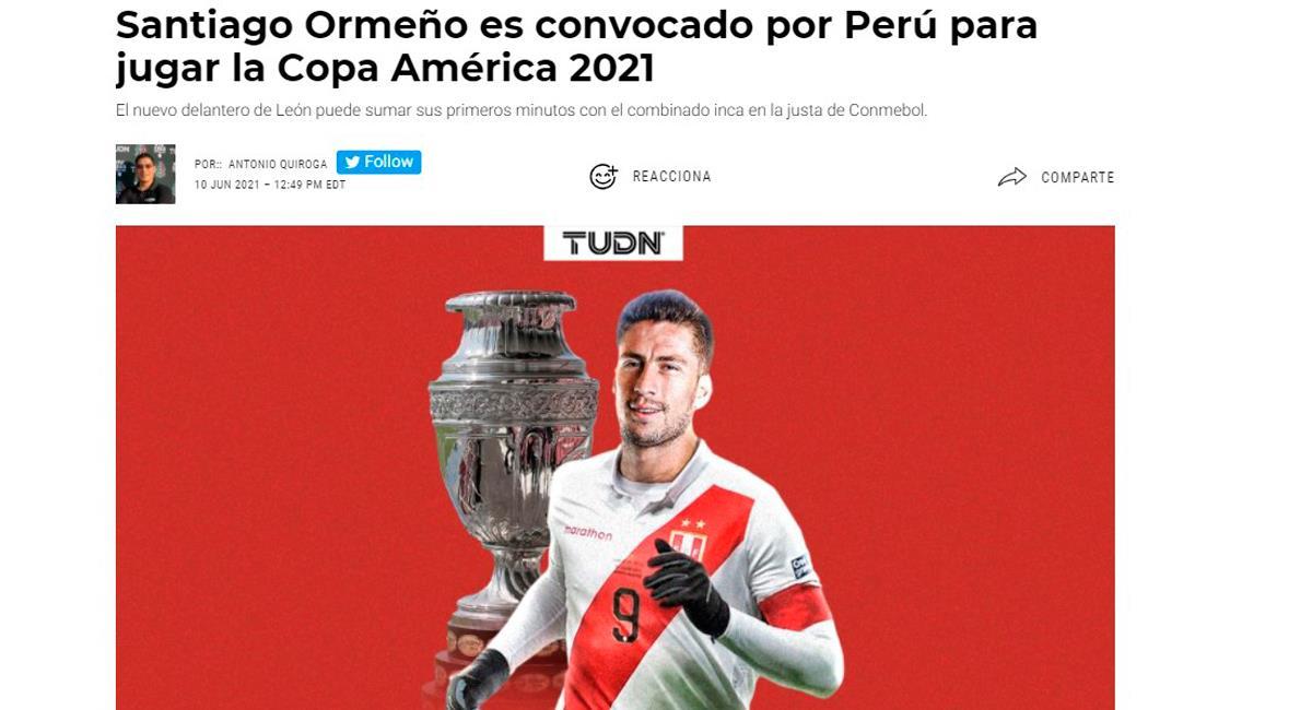 Prensa mexicana tituló el llamado de Santiago Ormeño a la Copa América 2021. Foto: Captura TUDN