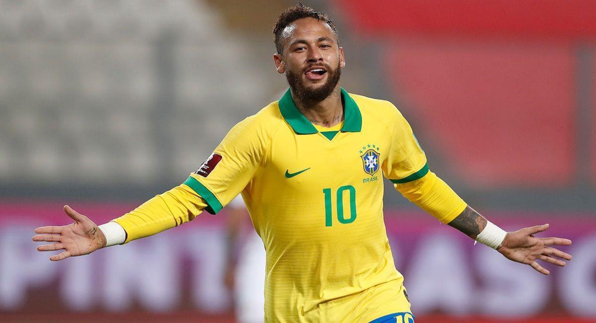 Neymar celebrando con Brasil. Foto: EFE