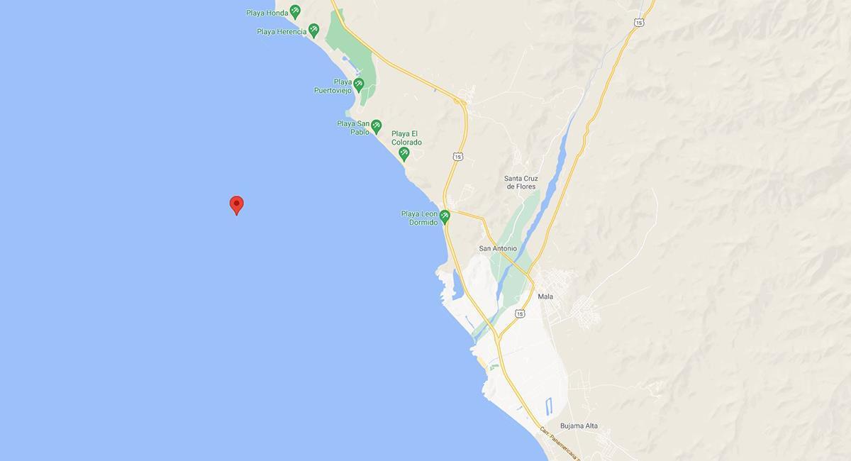 Sismo de 3.8 en Chilca, Cañete. Foto: Google Maps