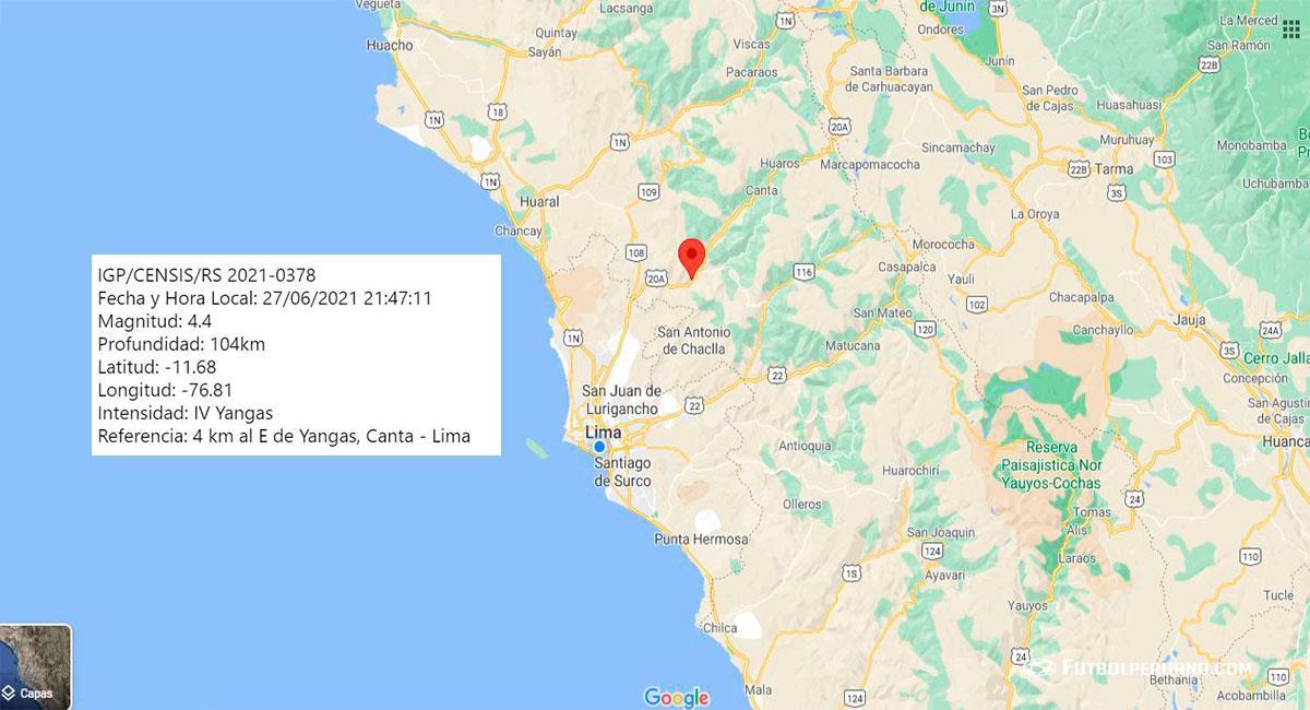 Temblor de 4.4 de magnitud sacude Lima, con epicentro en Yangas (Canta). Foto: Google Maps