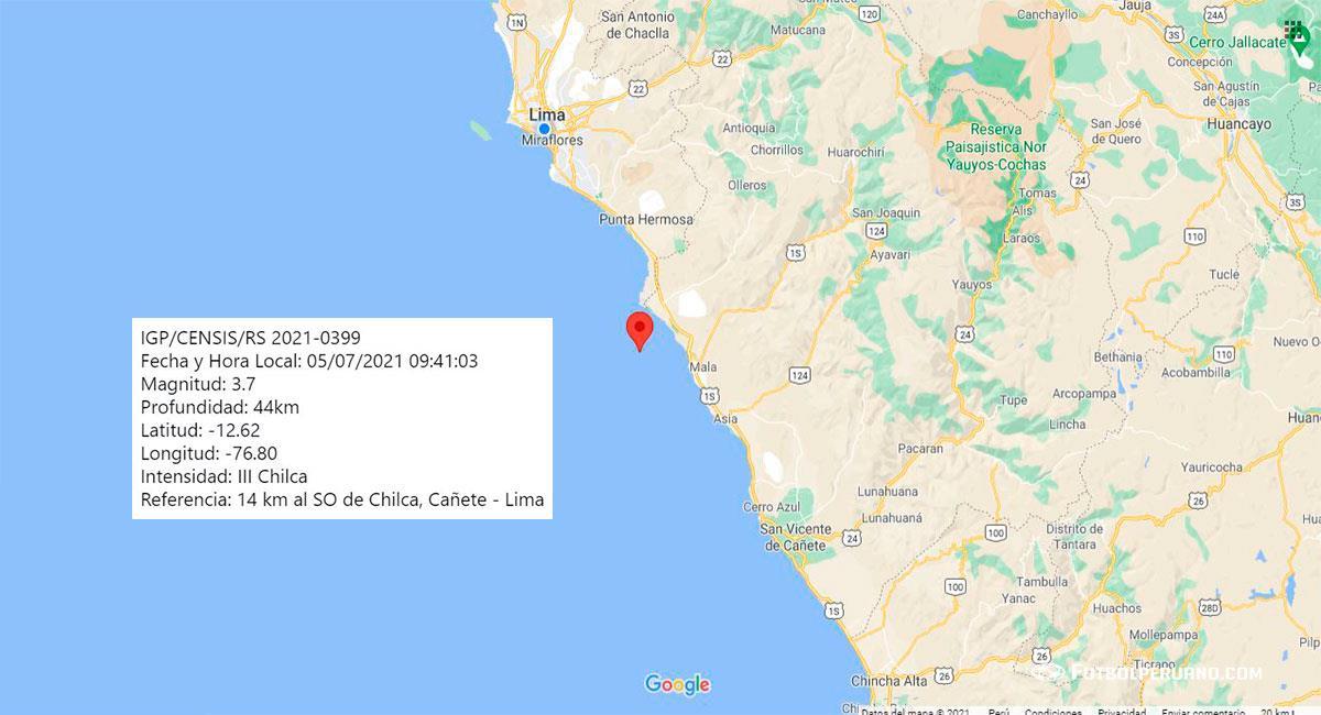 Foto: Temblor de 3.7 de magnitud sacude Lima, con epicentro en Chilca (Cañete). Foto: Google Maps