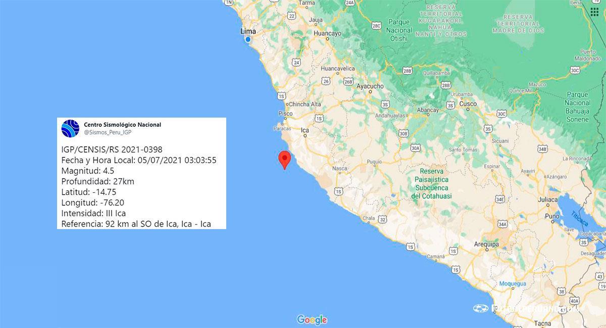 Temblor de 4.5 de magnitud sacude Ica. Foto: Google Maps