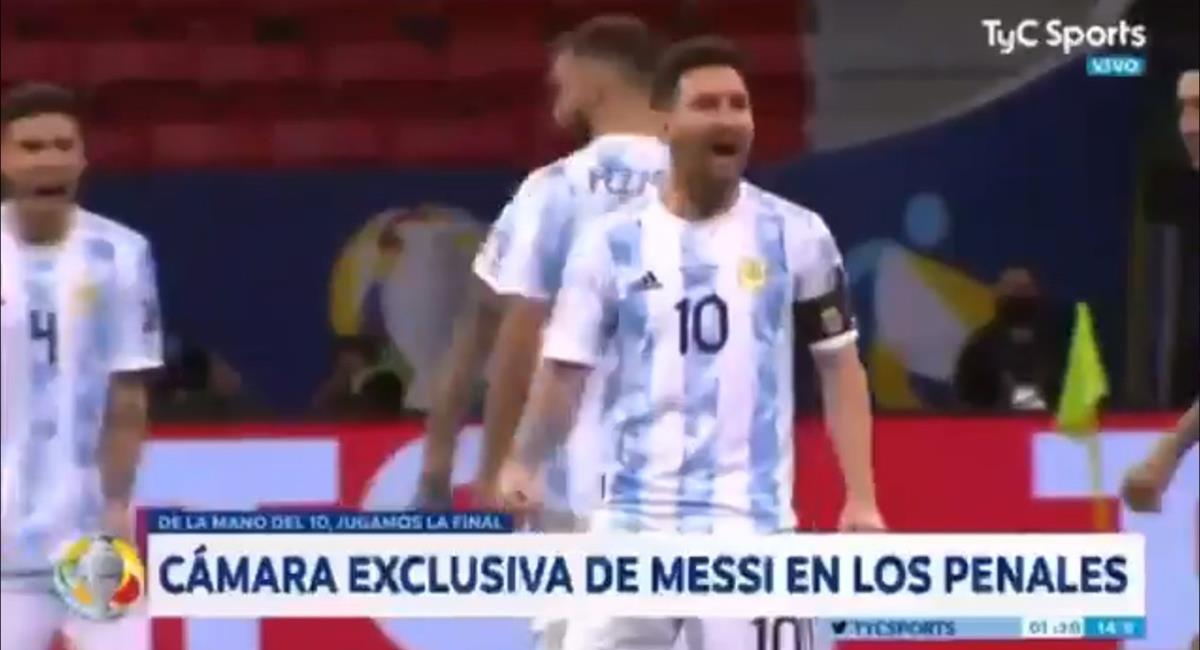 Messi y la cámara exclusiva en tanda de penales. Foto: Captura TyC Sports