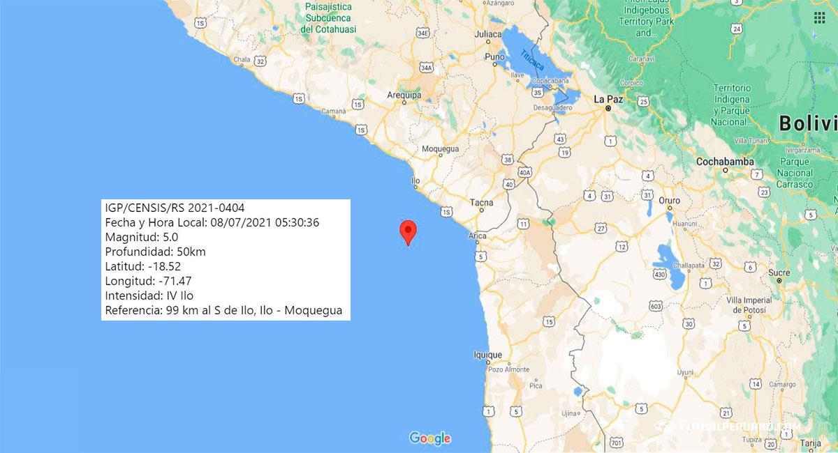 Fuerte sismo sacudió Ilo la madrugada de este jueves 8 de julio. Foto: Google Maps