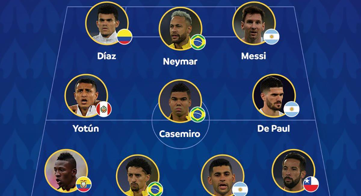 Once ideal de la Copa América 2021. Foto: Twitter Copa América