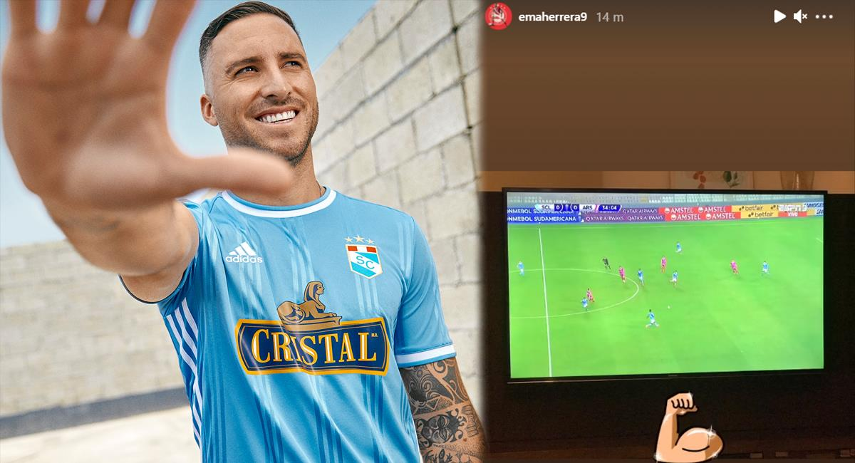 Emanuel Herrera estuvo viendo el Cristal vs Arsenal. Foto: Instagram Club Sporting Cristal / Emanuel Herrera