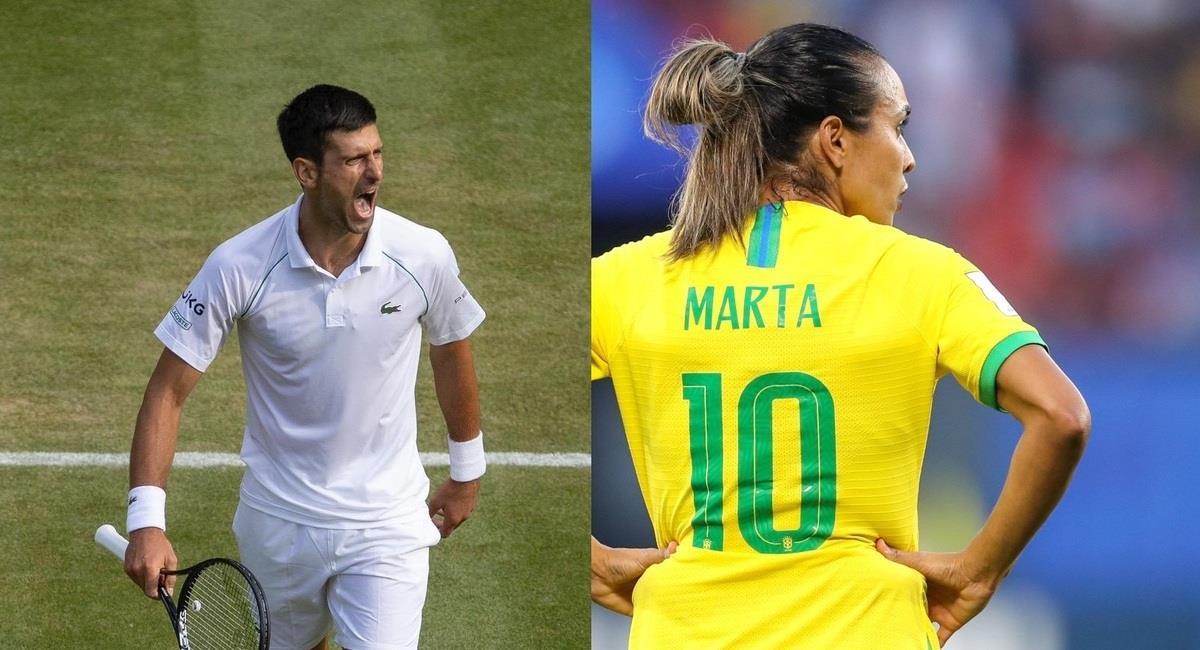 Djokovic y Marta. Foto: @DjokerNole y @CBF_Futebol