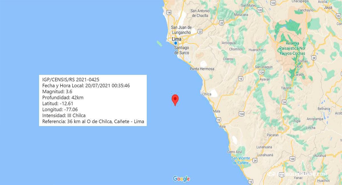 Temblor de 3.6 de magnitud sacude Lima, con epicentro en Chilca (Cañete). Foto: Google Maps