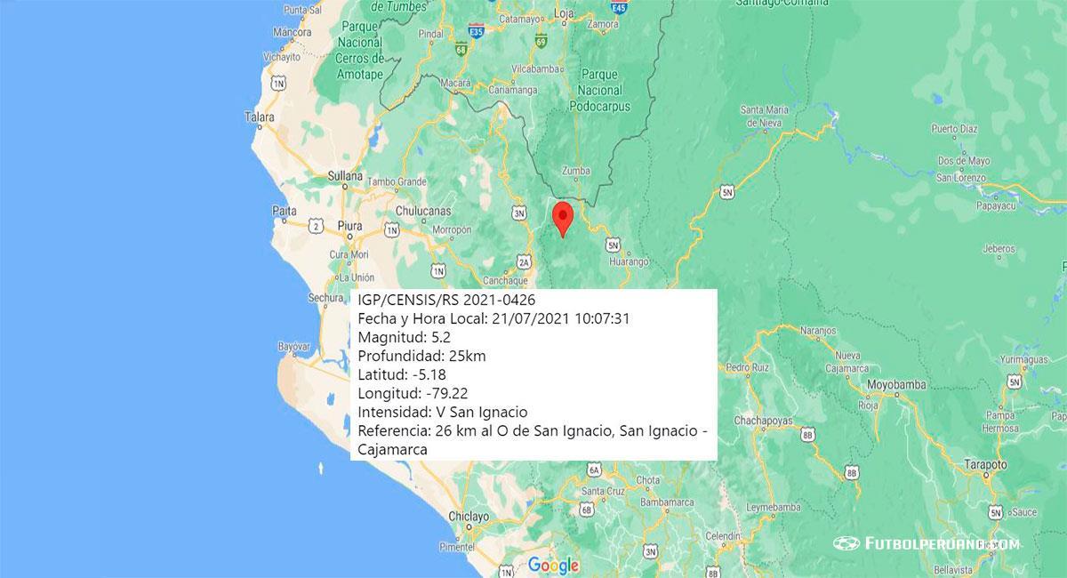 Temblor sacudió San Ignacio (Cajamarca) este miércoles 21 de julio. Foto: Google Maps
