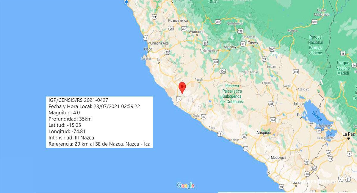 Temblor sacudió Nazca (Ica) este viernes 23 de julio. Foto: Google Maps