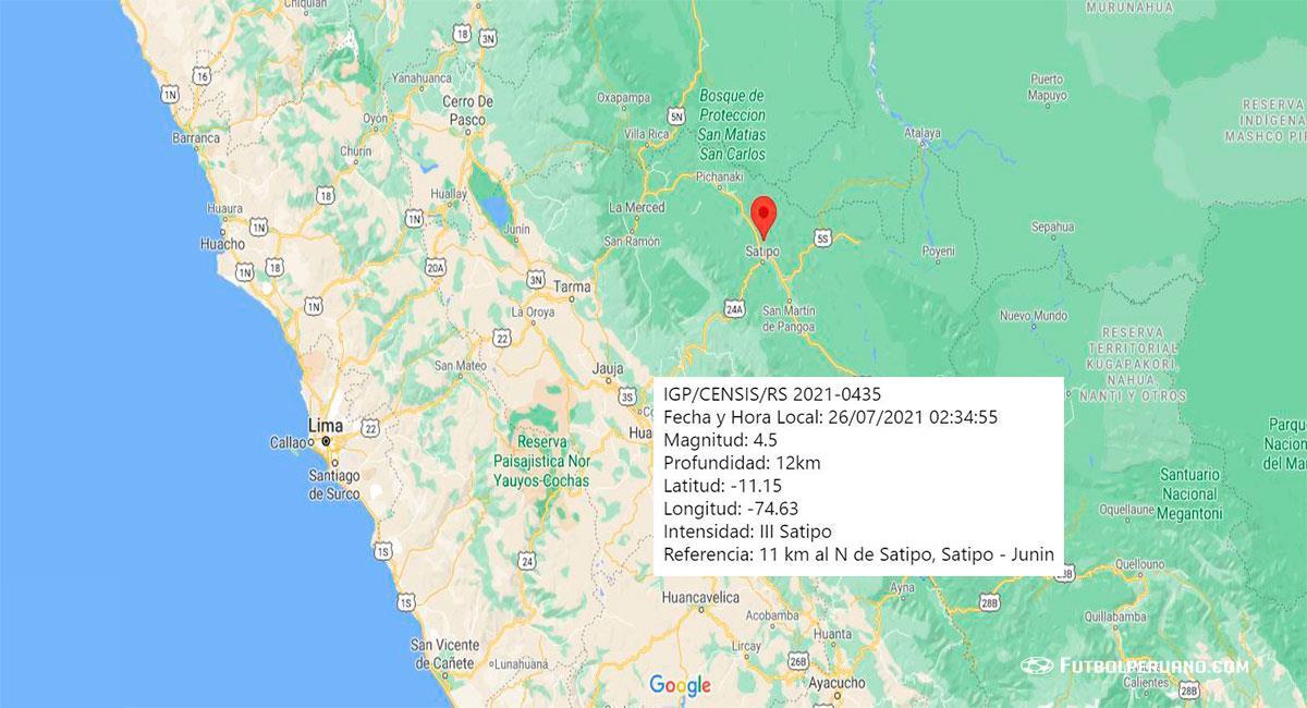 Temblor hoy en Junín: sismo de 4.5 se registró la madrugada del lunes 26 de julio en Satipo