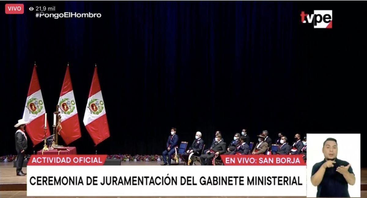 Juramentación del gabinete ministerial de Guido Bellido. Foto: Captura
