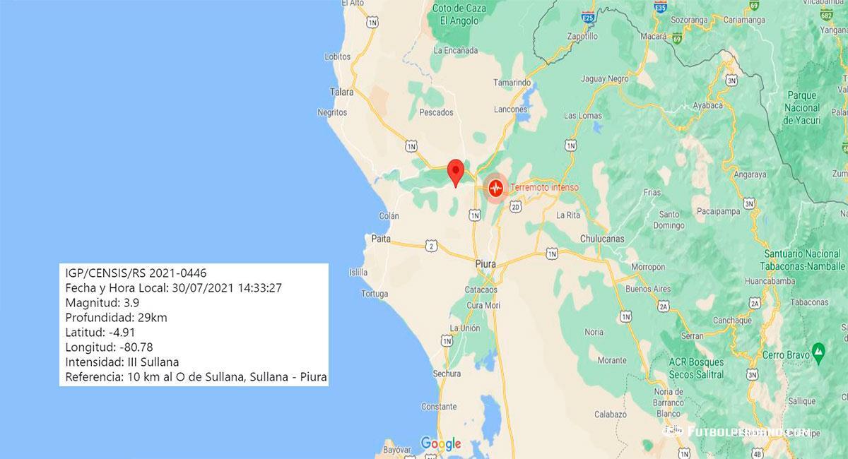 Temblor de 3.9 de magnitud sacudió Piura. Foto: Google Maps