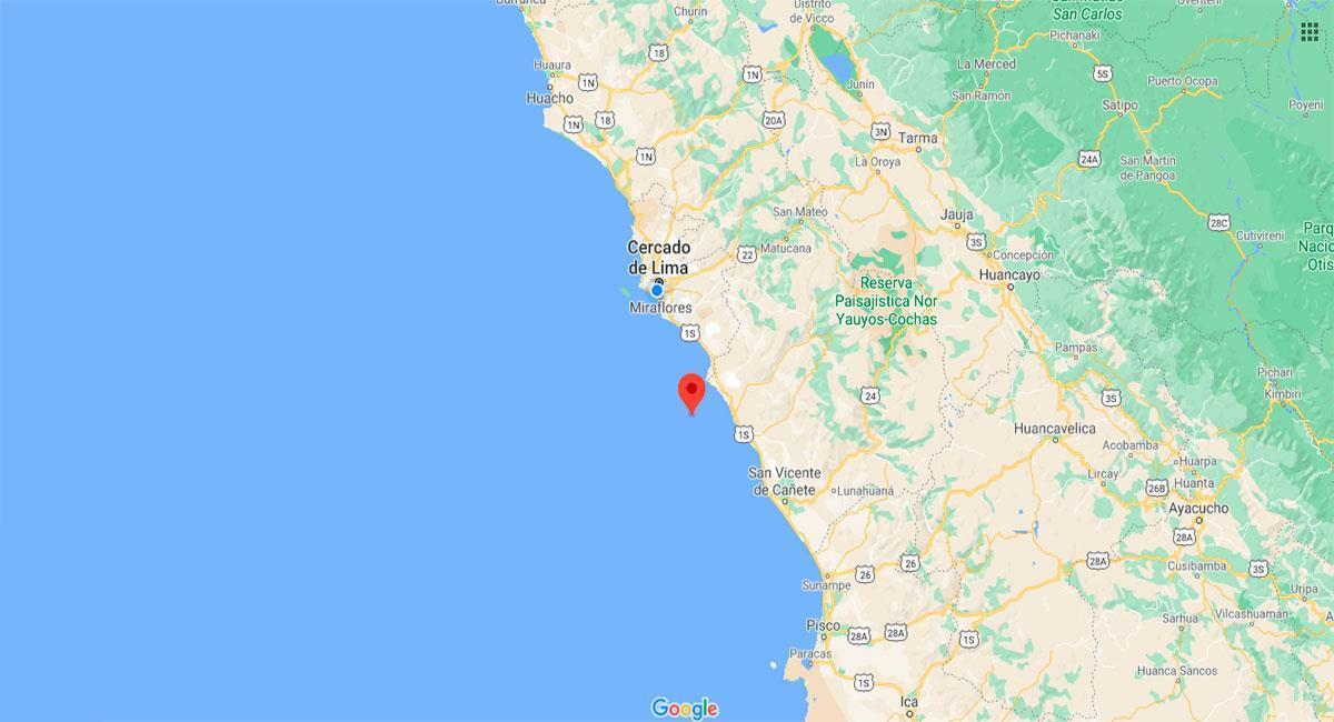 Chilca fue remecida por un temblor este domingo. Foto: Google Maps